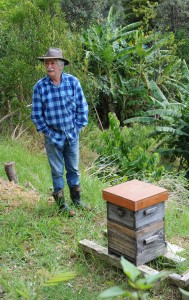 Bryan Divers of Mamaki with one of his Warre beehives.